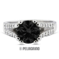 2.67ct Black Ex Round Natural Diamond 14k Gold Split Band Engagement Ring 3.11mm