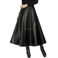 Women Fashion Faux Leather High Waist Pleated Swing Maxi Skirt CO99