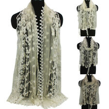 Women's Fashion Scarves Embroidery Flowers Thin Lace Gauze Tassel Long Scarf New