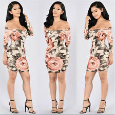 Sexy Women's Off Shoulder Print Bodycon Party Evening Short Mini Dress