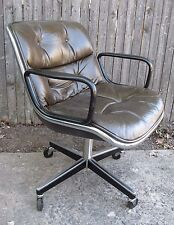 vintage mid century charles pollock knoll leather executive swivel office chair bela stackable office chair