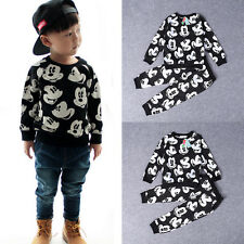 Cute Baby Boy Kid Mickey Mouse T-Shirt Tops Pants Casual Outfits Set Clothes