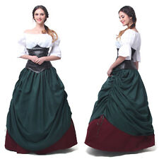 Women Victorian Medieval Renaissance Corset Dresses Cosplay Wench Gown Costume