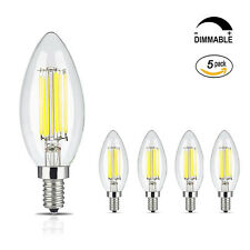 E12 Light Bulb LED 6W Dimmable C35 Edison Retro Filament Candle Light Lamp 110V