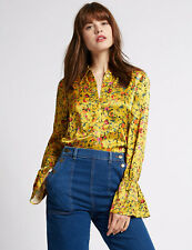 Limited Collection Floral Long Sleeve Bell Cuff Collared Satin Silk Feel Blouse
