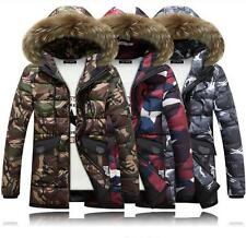 Mens Military Camouflage duck down jacket coat Fur collar hooded parka Winter