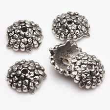 15/30Pcs Tibetan Silver Flower Crafted Covering Bead Caps Bracelets Finding 12mm