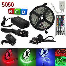 1M-5M Waterproof 5050 SMD LED Strip RGB White Flexible Light + IR Remote+Adapter