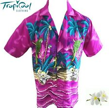 Parrot, Palms & Surfboard Purple Mens Hawaiian Shirt
