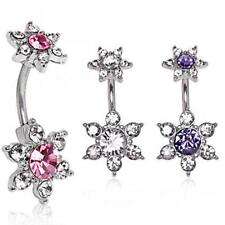 316L Surgical Steel Dual Flower Belly Button Navel Ring