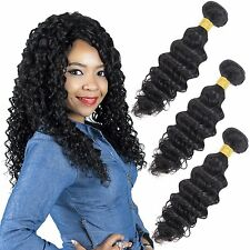 Deep Wave Brazilian Hair 8A Deep Wave Remy Human Hair Extensions Natural Black