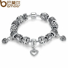 SILVER CHARM BRACELET BANGLE 925 WITH HEART PENDANT WOMEN VINTAGE JEWELRY PA1431