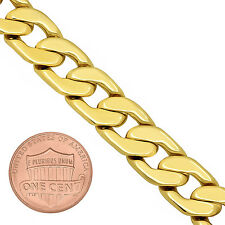 11.5mm 14k Gold Plated Beveled Cuban Link Curb Chain