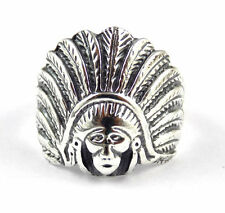1Pcs 925 Sterling Silver Indian Chief Head Ring High Polished Black Oxidize Ring
