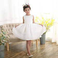 New Girls Flower Girl Christening pageant Princess Party Dress Ivory 3-10 Years
