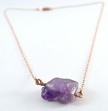 Amethyst Sterling Silver, Rose Gold, Gold Filled, Stone Handcrafted Necklace