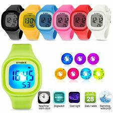 LED Digital Sports Watch Silicone Square Wristwatch Boys Girls Waterproof Watch