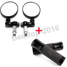 "Black Motorcycle 7/8"" Bar Rearview Mirrors And Hand Grips For Cafe Racer Bobber"