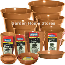 3 to 15 inch Whitefurze Terracotta Colour Plastic Plant Pots & Range of Saucers