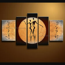 Handmade Pentaptych Modern Abstract Painting Wall Art Figure Oil On Canvas