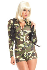 Sexy womens adult Army romper camo costume