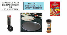 PIZZA KITS. HOMEMADE PIZZA. BAKE PAN, CUTTER, PEPPERONI, RED PEPPER & CRUST MIX.