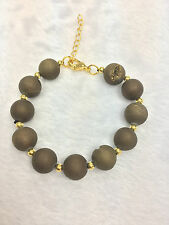 "Druzy Agate 10-12mm with brass ball with clasp + 2"" ext Necklace or Bracelet"