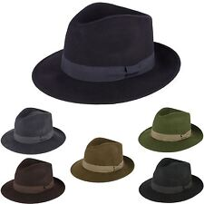 Mens Ladies Fedora Hat 100% Wool Felt Made In Italy Handmade With Grosgrain Band