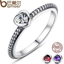 NEW AUTHENTIC 925 STERLING SILVER RING LOVE HEART WEDDING JEWELRY FASHION PA7105