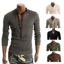 Men V-neck Button Front Long Sleeve Casual Slim Fit T-Shirt Tops Tee Fashion t1