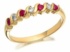 F.Hinds Womens Jewellery 9ct Gold Diamond And Ruby Half Eternity Ring - 11pts