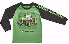 NEW John Deere on Sleeve Boys Green T-Shirt  Tractor Design Sizes 4, 5, 6, 7