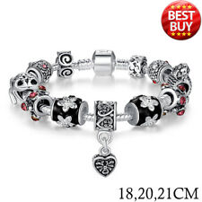 925 SILVER HEART CHARM BRACELET BANGLE FOR WOMEN GLASS BEADS JEWELRY GIFT PA1034