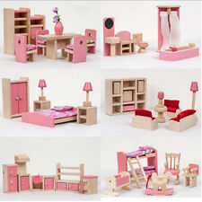 Kid Pink Wooden Furniture Dolls House Miniature 6 Room Set Educational Toy Gift