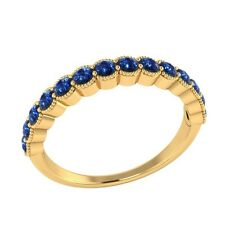 0.60 ct Natural Round Blue Sapphire Solid Gold Half Eternity Wedding Band Ring