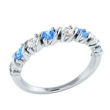 0.40ct Real Blue Topaz & Certified Diamond Solid Gold Half Eternity Wedding Band