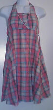 Girls Youth Size 14 Multicolor Kid Flare Summer Plaid Halter Tie Up Empire Dress