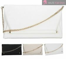 WOMEN'S TEXTURED FAUX LEATHER GOLD CHAIN BAR FOLDOVER PARTY CLUTCH BAG PURSE
