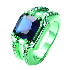 New Jewelry Princess Cut Blue Sapphire 10KT Green Gold Filled Ring Size8-12
