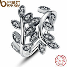 925 STERLING SILVER SPARKLING LEAVES RING CUBIC ZIRCONIA WOMEN JEWELRY PA7114
