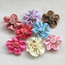 30pcs Ribbon Flowers Bows W/rose leaf  Appliques Wedding Deco Craft