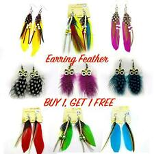 Women Jewellery Handmade Earrings Goose Feather Dangle Ear drop colours Natural