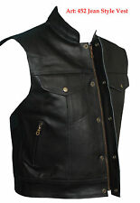 Mens Motorcycle Biker style Waistcoat Vest Jacket Cut 100% Real Leather Black