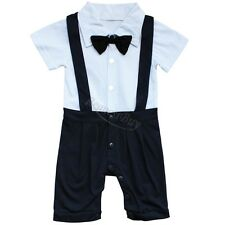 Baby Boys Gentleman Formal Wedding Xmas Tuxedo One Piece Bow Romper Suit Outfit