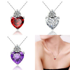 Fashion Womans Heart Crystal Rhinestone Silver Chain  Pendants Choker Necklace