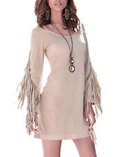 Women Fashion Round Neck Long Sleeve Dress Tassel Design Casual Party Mini Dress