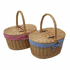 Oval Lidded Wicker Picnic Basket - Shopping Basket - Sewing Basket - Red or Blue