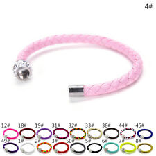 Fashion PU Leather Bracelets Chain Bangle Charms Crystal Rhinestone Beads
