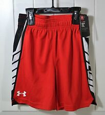 NWT BOYS KIDS UNDER ARMOUR HEATGEAR RISK RED ATHLETIC SHORTS SIZE 4, 5, 6