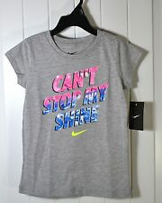 "NWT GIRLS NIKE ""CANT STOP MY SHINE"" SHORT SLEEVES LONG SLEEVE TSHIRT SIZE 6 6X"
